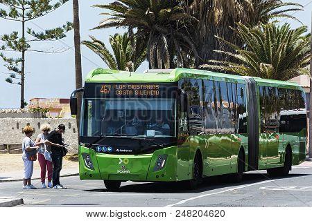 Spain, La Caleta - May 15, 2018: - Scania Shuttle Bus For Transport Company Titsa At A Public Transp