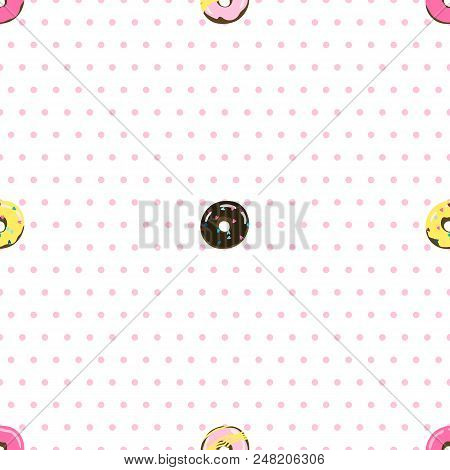 Dotted Seamless Pattern With Donuts. Stock Vector