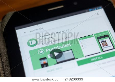 Ryazan, Russia - July 03, 2018: Pushbullet - Sms On Pc Mobile App On The Display Of Tablet Pc