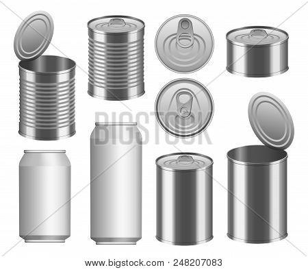 Tin Can Food Package Jar Mockup Set. Realistic Illustration Of 9 Tin Can Food Package Jar Mockups Fo