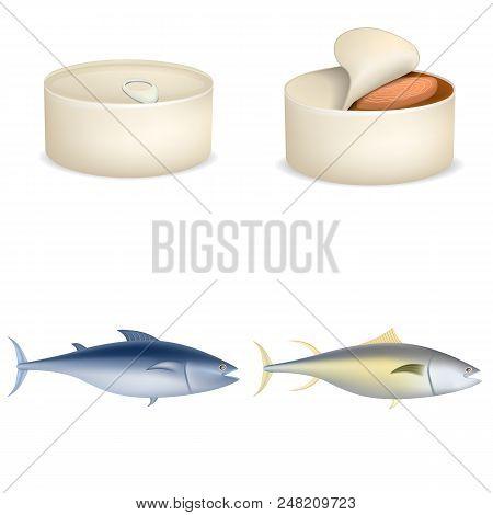 Tuna Fish Can Steak Icons Set. Realistic Illustration Of 4 Tuna Fish Can Steak Vector Icons For Web