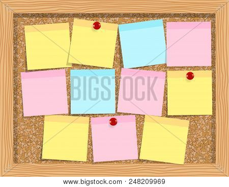 Note Paper On Cork Board. Bulletin Board. Cork Board With Notes