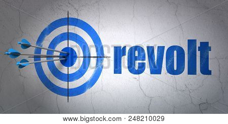 Success Political Concept: Arrows Hitting The Center Of Target, Blue Revolt On Wall Background, 3d R