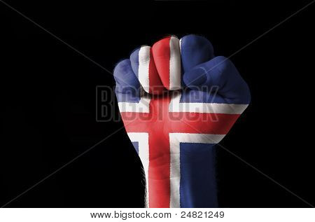 Fist Painted In Colors Of Iceland Flag