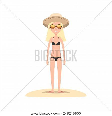 Girl In Bikini, Hat And Sunglasses. Blonde On Summer Vacations. Summer Travel And Rest. Vector Stock