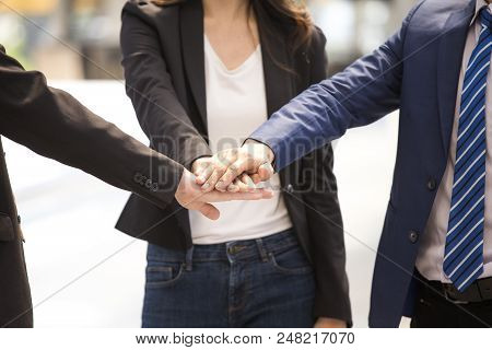 Hand Of Business People Accept For Business Plan Together. People Talking For Business Project With