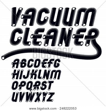 Vector Trendy Italic Capital, Uppercase Alphabet Letters Collection. Unlike Type Font, Script From A