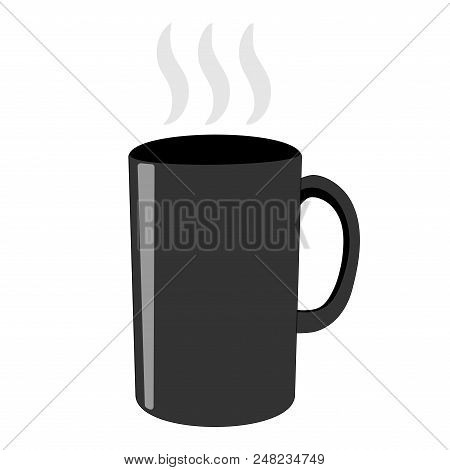 Gray Tea Cup Sign. Image Of Breakfast Element. Beautiful Monochrome Icon Isolated On White Backgroun