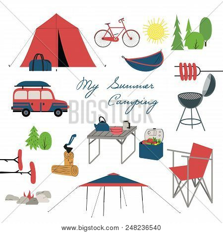 Summer Camping Icons. Family Camp Equipment For Vacation Leisure Activity, Fun And Rest. Colorful Ca