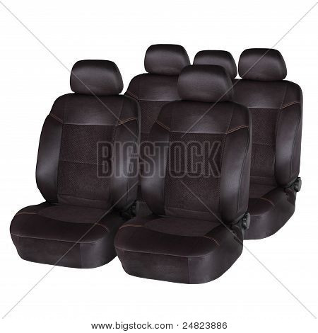 Brown Leather Car Seats Isolated On White