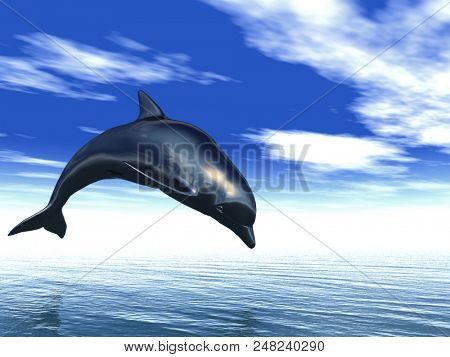 dolphin jumping out of the water - 3D rendering