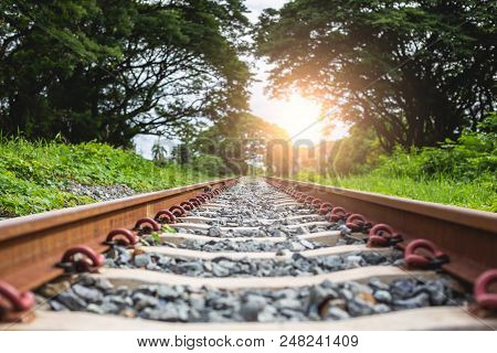 Railroad Tracks : Railroad With Stone Passing The Forest