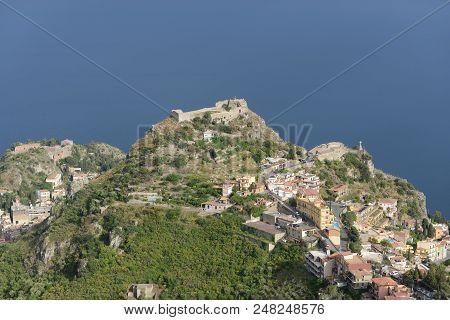 Ancient Theatre (left), Castle Saraceno (midle) And The Chapel Madonne Della Rocca (right), Taormina