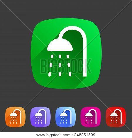 Shower Douche Icon Flat Web Sign Symbol Logo Label Set