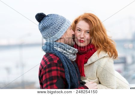 Sexy Woman Listen To Men. Happy Woman From Male Story. Men Whispers To Red Hair Woman. Close Up Of C