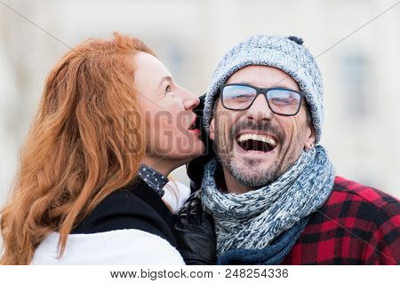 Smiled Guy Listen To Woman. Happy Men From Woman Story. Woman Whispers To Men In Glasses. Close Up O