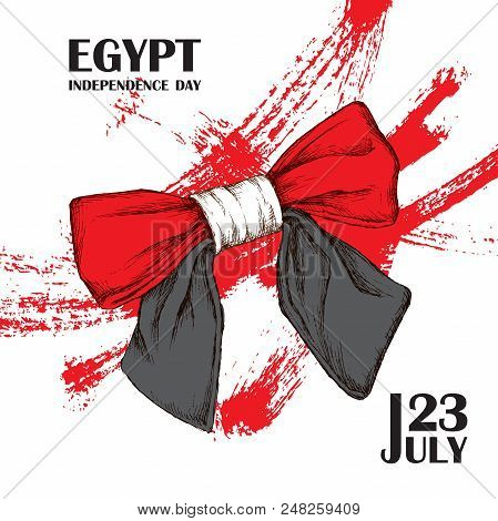 Independence day of Egypt. July 23rd. National Patriotic holiday of liberation in Latin America, North Africa. Hand-drawn shading. Background with Egyptian tricolor. Vector image poster