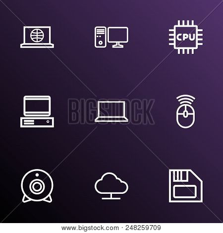 Hardware Icons Line Style Set With Internet, Notebook, Pc And Other Pc  Elements. Isolated Vector Il