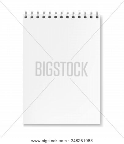 Realistic Vertical Vector White Sheet Notebook Mockup. Copybook With Blank Paper On Metallic Ring Sp