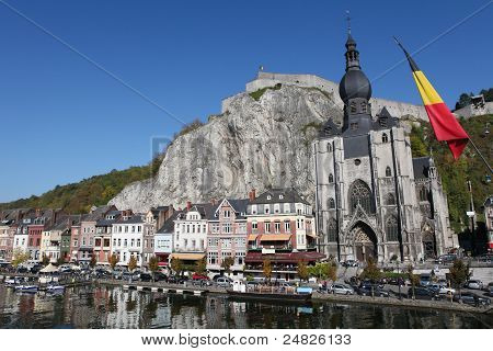 Center of Dinant with citadelle and cathedral in Belgium. poster