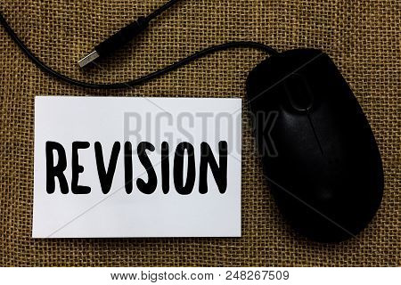 Word writing text Revision. Business concept for Rechecking Before Proceeding Self Improvement Preparation USB cable mouse art paper mat thoughts ideas shadow small pitch art paper poster