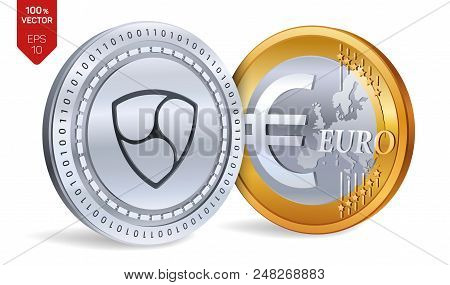 Nem. Euro Coin. 3d Isometric Physical Coins. Digital Currency. Cryptocurrency. Golden And Silver Coi