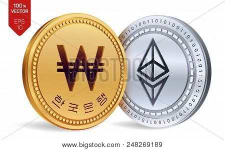Ethereum. Won. 3d Isometric Physical Coins. Digital Currency. Korea Won Coin. Cryptocurrency. Golden