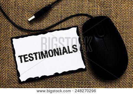 Handwriting Text Testimonials. Concept Meaning Customers Formal Endorsement Statement Experience Of