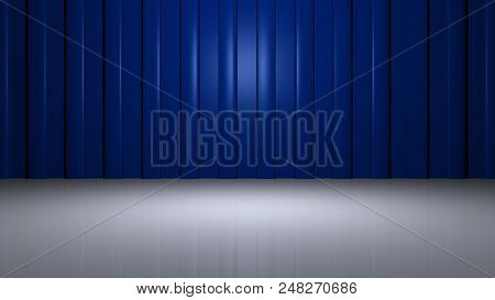 High Resolution 3d Rendering Of Modern Blue Metallic Vertical Panels With Radial Light In The Middle