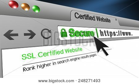 High Resolution 3d Illustration Of Ssl Secure Browser With Text Certified Website Secure. Great Conc