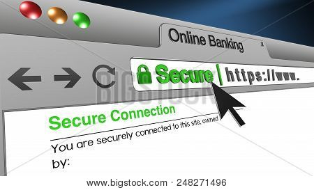 High Resolution 3d Illustration Of Ssl Secure Browser With Text Online Banking Secure. Great Concept