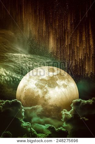 Photo Manipulation. Beautiful colorful skyscape with many stars and meteor shower. Landscape of sky with super moon behind partial cloudy. Serenity nature background. The moon taken with my camera. poster