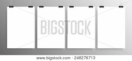 Four Vertical Posters Mockup A4. White Sheets Background. 4 Posters On The Wall. Vector Blank Empty