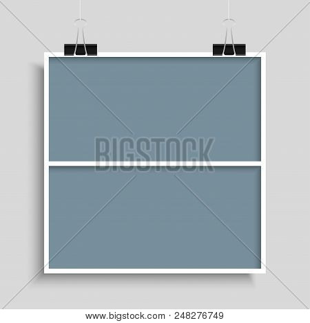 Templates Collage Two Frames For Photo Or Illustration. Vector Frame For Photos, Pictures, Photo Col