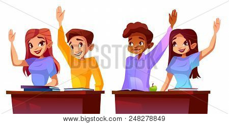 College Or University Students Vector Illustration Of Classmates Of Different Nationalities Raised H
