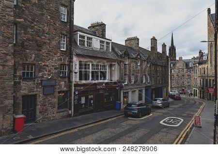 Edinburgh, Scotland - April 2018: View From George Iv Bridge Towards Candlemaker Row Street Alongsid