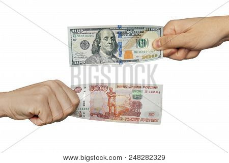 Hands Exchange Rubles For Dollars People Currency Transmit Money Hand Holds