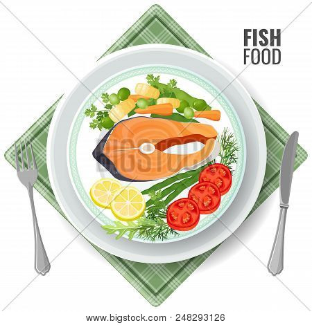 Fish Food Roasted Salmon Meat Set. Slice Served With Vegetables Lemon And Tomatoes, Dill And Green P