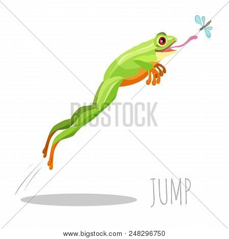 Bright Colored Frog Jumping To Catch Fly Isolated On White Icon. Moving Up Toad With Tongue Sticking