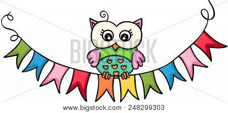 Scalable Vectorial Representing A Owl Wih Flag Banner, Element For Design, Illustration Isolated On