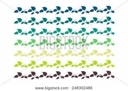 Leaf Border Green And Blue Handdrawn In Minimalistic Style