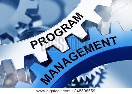 PROGRAM MANAGEMENT on Metal Cog Gears. Communication Concept. 3d Rendering
