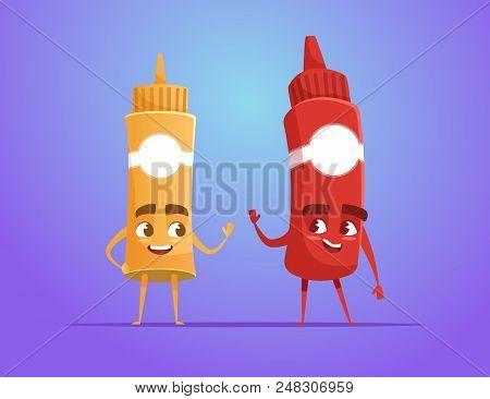 Ketchup And Mustard Waving Hand As Friends. Food Characters. Funny Cartoon Characters. Vector Illust