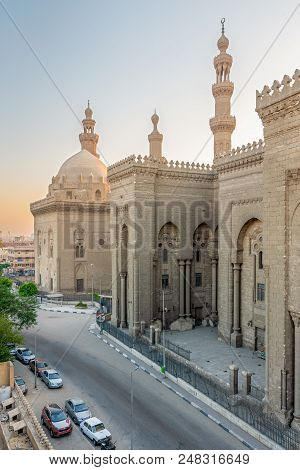 Cairo, Egypt - July 7 2018: External View Of Al Rifai And Sultan Hasan Historical Mosques From Al Ri