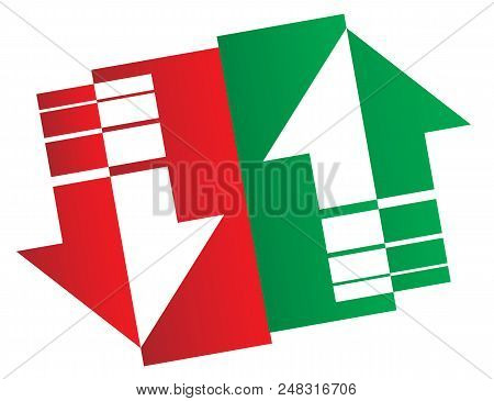 Stock Market Logo. Simple Up And Down Arrows. Upward, Downward Arrows In Green And Red Isolated On W