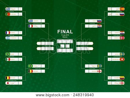 Championship Bracket With Flag Participants Of Round Of 16 And Quarter-finals On Green Soccer Backgr