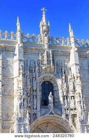 Jeronimos Monastery Or Hieronymites Monastery Facade In Lisbon, Portugal