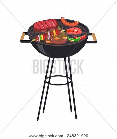 Roaster Grill With Meal Set, Grill And Vegetables, Steak And Sausages, Slice Of Salmon And Brochette