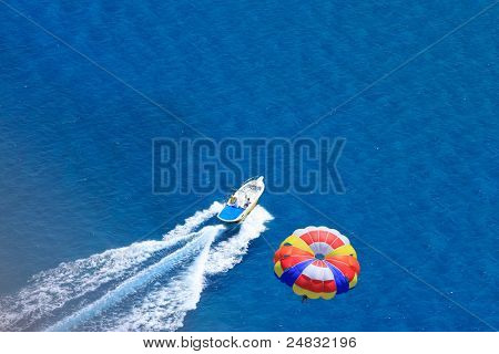 Sport activity - para sailing over the sea view from above