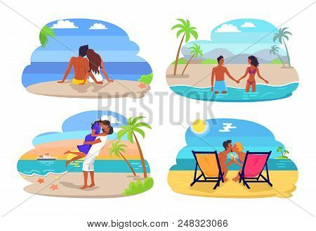 Couple seaside collection, summertime and people by seaside, couples in love kissing and cuddling, vector illustration isolated on white background poster